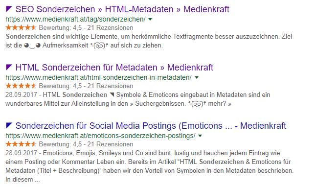 HTML Sonderzeichen, HTML Sonderzeichen in SEO Metadaten
