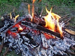 Kaminfeuer mit Anzündholz