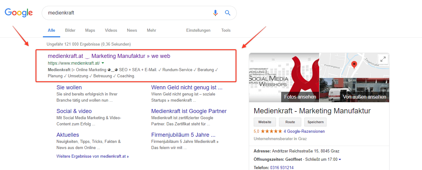Google SERP Snippet medienkraft.at