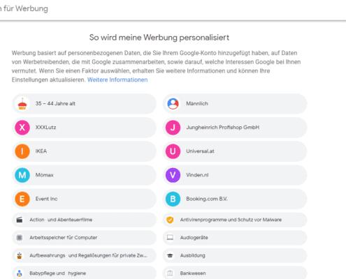 Google Einstellungen - Personalisierte Werbung