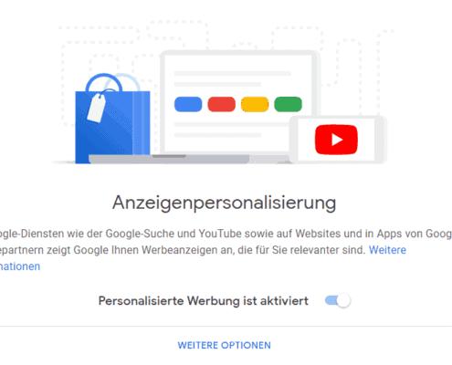 Personalisierte Werbung aktivieren - Einstellungen im Google Profil
