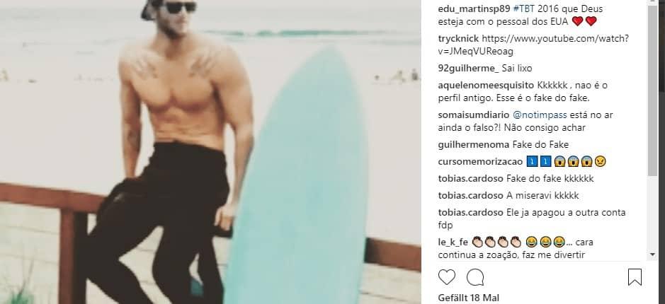 Fake Profil, Fake Profil Eduardo Martins aufgedeckt