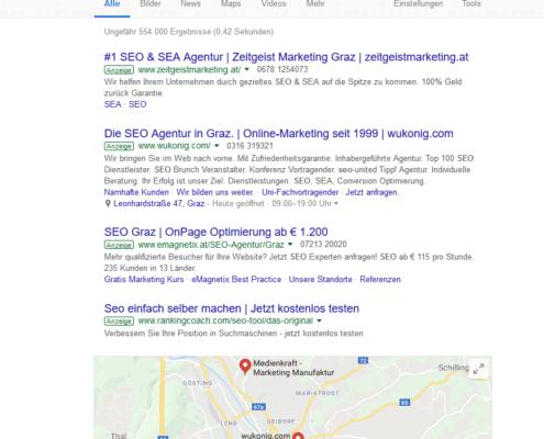 SERP Beispiel SEO Graz - Google Ads