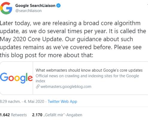 Google Core Update, Google Core Update released