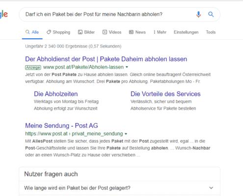 Suchergebnis ohne dem Google Update BERT 2019