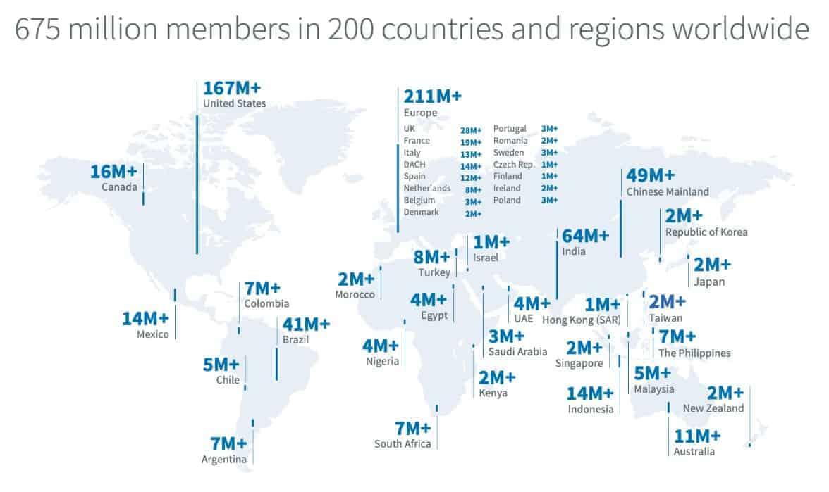 Weltkarte der LinkedIn-Nutzerzahlen