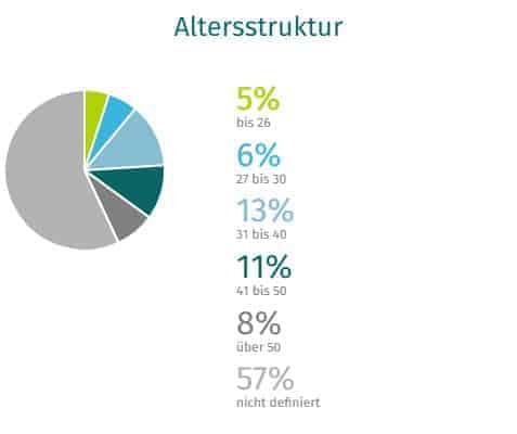 Kreisdiagramm Altersstruktur XING