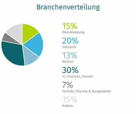 Kreisdiagramm Branchenverteilung XING
