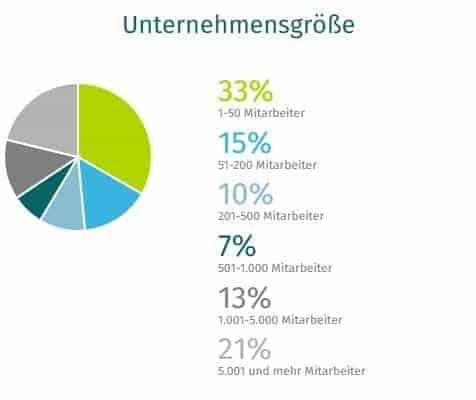 Kreisdiagramm Unternehmensgröße XING