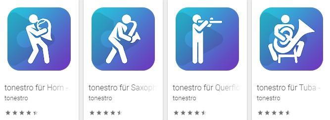 Beispiel-Icons der Blasmusik-App tonestro