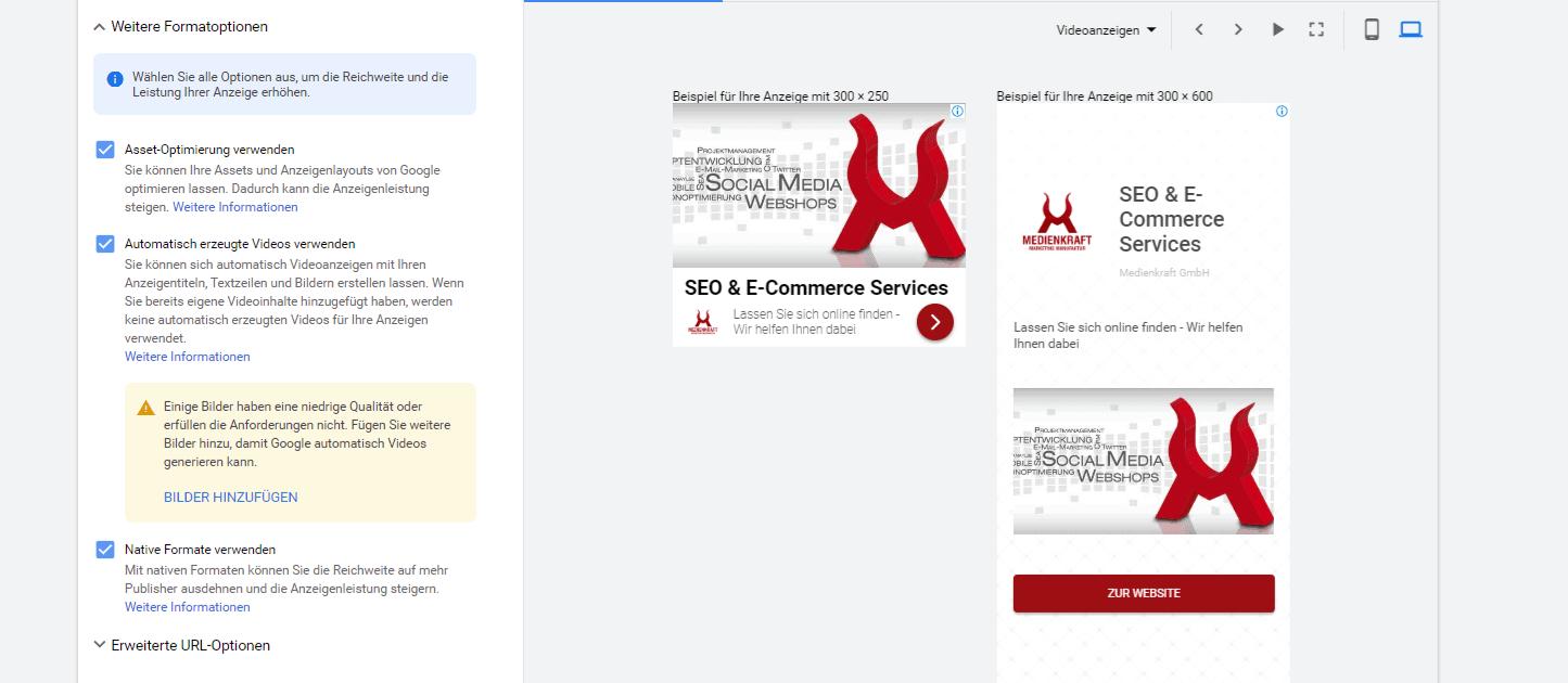 Neue Formate, Neue Formate für Google Displayanzeigen
