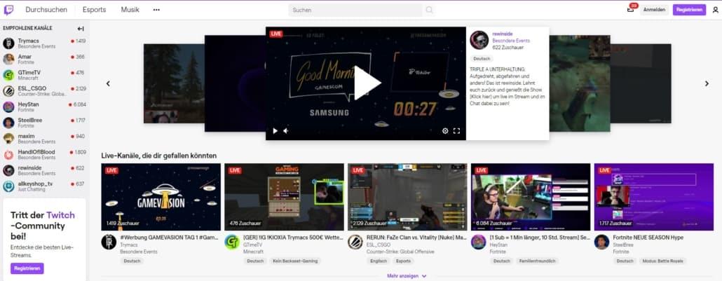 Twitch Startseite